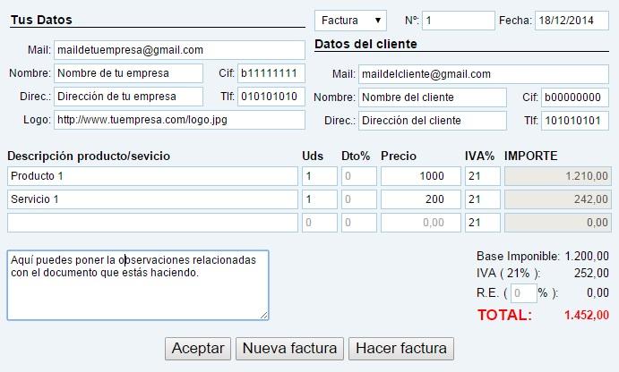 Herramienta para Hacer facturas online gratis y sin registro